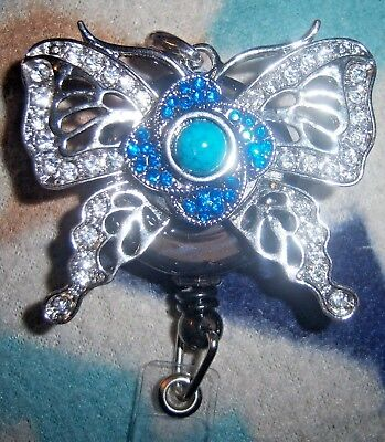 Bling Butterfly Retractable Badge Reel Holder Lanyard