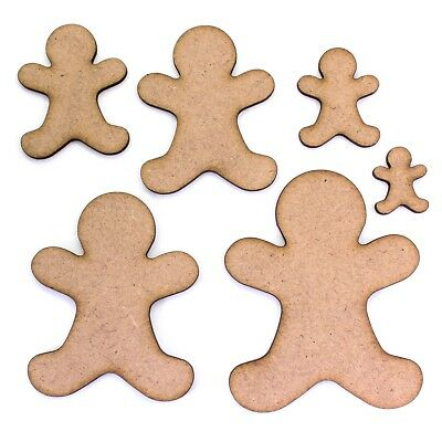 Gingerbread Man Craft Shape Blank, Various Sizes, 2mm MDF Wood. Christmas