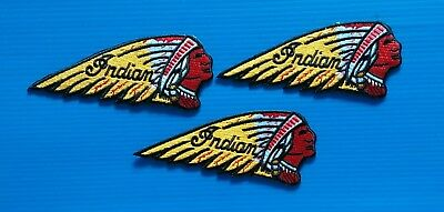"""3 LOT 3.25"""" INDIAN MOTORCYCLES Easy Iron/Sew On CHIEF BIKER Patches FREE SHIP"""