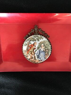 RARE 19th Century Antique German Hand Painted Porcelain Paper Weight Medallion