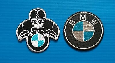 2 Lot BMW  MOTORCYCLE AVERAGE 3 INCH. Easy Iron Or Sewn On Patches Free Ship