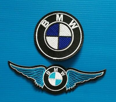 2 Lot BMW  MOTORCYCLE AVERAGE 6 & 3 INCH. Easy Iron Or Sewn On Patches Free Ship