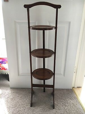 Antique Wooden Folding 3 Tier Cake Or Ornament Display Stand