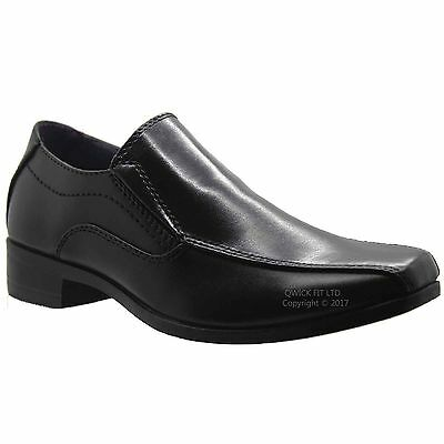 New Boys Black Slip On Smart Casual Wedding Formal Back To School Shoes Sizes