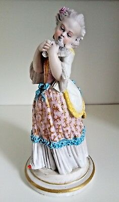 Antique XIX French Jean Gille Porcelain Bisque Figurine Girl with Bird