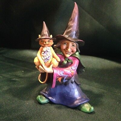 Jim Shore Heartwood Creek- Mini Figurine - Witch With Cat