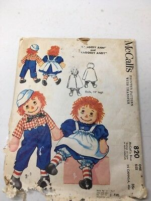 """Vintage  McCall's 19"""" Raggedy Ann Andy Doll & Clothes Original Pattern 1958"""