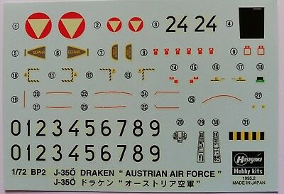 1:72 Hasegawa - Decal SAAB J-35 Draken Austrian Air Force. Without instructions.