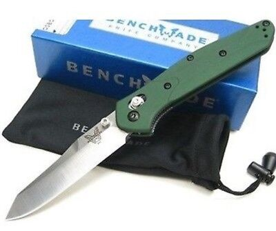 * New Benchmade Osborne 940 Green Aluminum Handle S30V Satin Plain Edge Knife