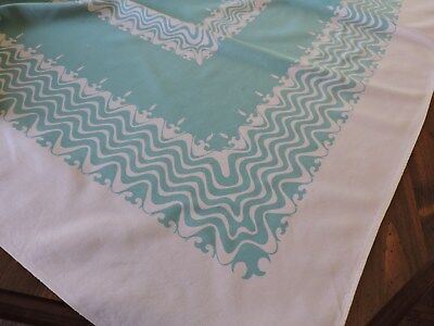 """Vintage """"simtex"""" Tablecloth.  Unusual Fish And Waves.  Turquoise & White.."""
