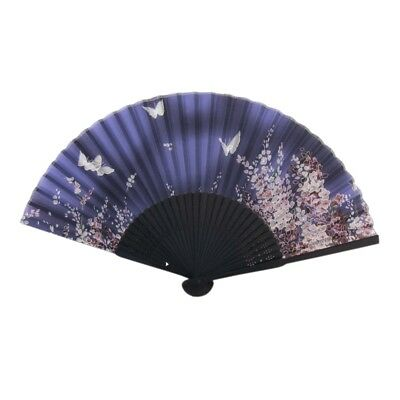 Japanese Silk Handheld Fan, Blue Small Flowers with Butterflies B1W7