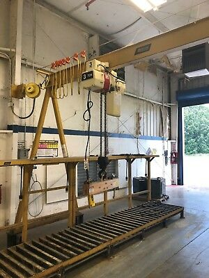 A-Frame with Coffing 3 Ton Electric Hoist and Motorized Trolley with Track