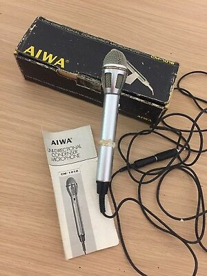 Old Vintage AIWA CM-1018 Uni-Directional Condenser Microphone Boxed