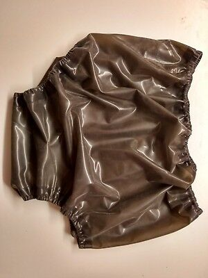 Latex baby san pants in translucent smokey black rubber sissy adult