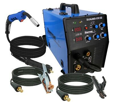 SHERMAN Inverter Welder Machine 200amp DUALMIG-210 S3 MIG MMA TIG LIFT GASLESS