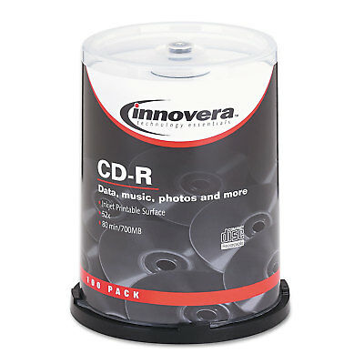 Innovera CD-R Discs Hub Printable 700MB/80min 52x Spindle Matte White 100/Pack