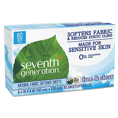 Seventh Generation Natural Fabric Softener Sheets Free & Clear 80/Box 12 Box