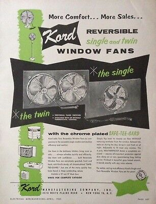 1955 Ad(H18)~Kord Mfg. Co. Nyc. Kord Reversible Single And Twin Window Fans