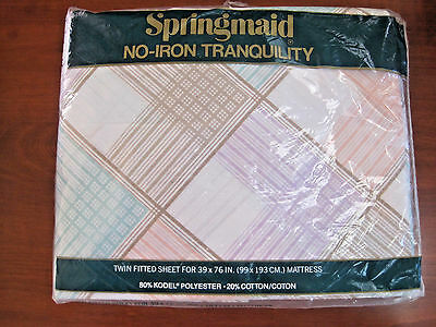 Vintage Sheet Twin Fitted 1980s Pastel Stripes Plaid NIP