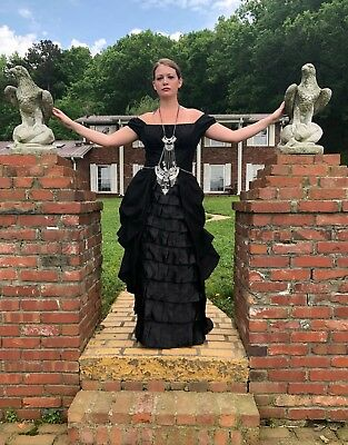 Custom Goth Medieval Steampunk Ball Gown Wedding Dress Bead Chain Rhinestone 10