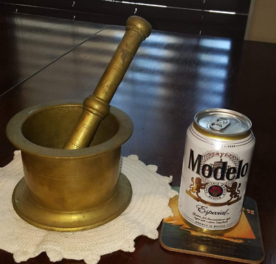 1850's Brass Apothecary Mortar and Pestle -  Cannon-Shaped.  Authentic Original