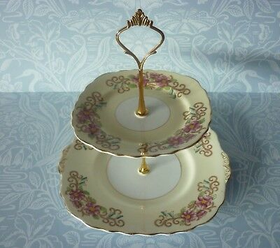 2 Tier Vintage Yellow & Pink Cake Stand - weddings tea rooms etc