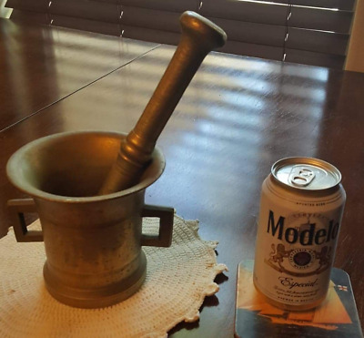 Heavy Brass Apothecary Mortar and Pestle - ca. 1860.  Authentic Original