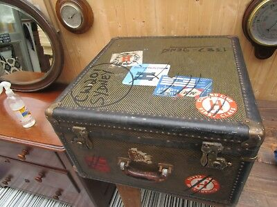 RARE 1930s AMERICAN LADIES FITTED 20ins SQUARE TRAVEL TRUNK/COFFEE TABLE VGC