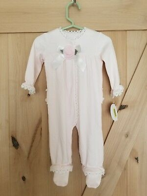 NWT Edgehill Collection Beautiful Pink Dressy Frilly Romper Snap Pajamas 6 month
