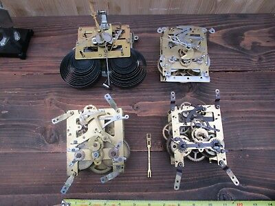 4 X Vintage Striking Clock Movements For Spares/repair
