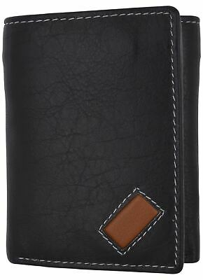 Trifold Mens Premium Leather Credit Card ID Holder w/ Bill Pockets Black Wallet