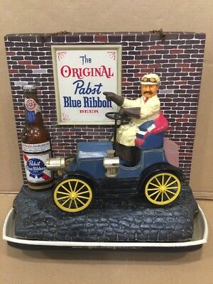 Vintage 1960 Pabst Blue Ribbon Beer Jalopy Motion  Beer Light. Man Cave Bar