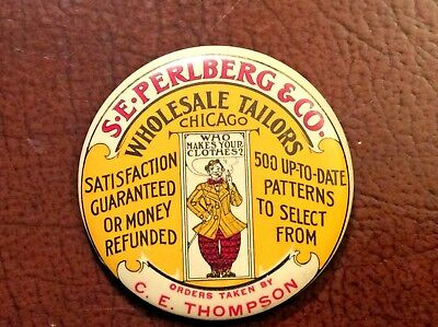 Early S-E-Perlberg & Co Tailors Chicago IL Pocket Mirror Sign CE Thompson Clown