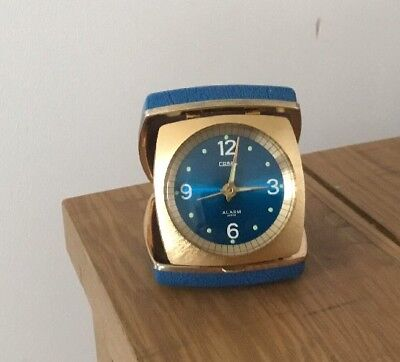 Vintage Travel Alarm Clock by Coral. Lovely Blue And Gold Colour, Fully Working