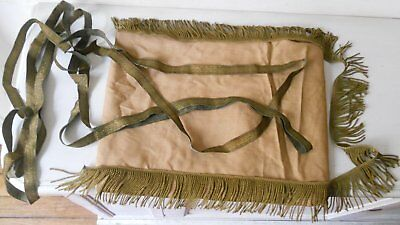 Lot Rare Element Ancien Old Broderie Or Soie Galon Franges Drapeau Fanion Coiffe