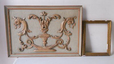 Lot Cadre Trumeau Imposte Fireplace Top Bois Sculpte Old Relief Wood  Arestaurer