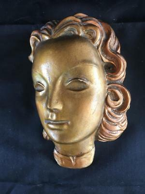 Fine Vintage Art Deco Hand Painted Looking Left Wall Mask. #1.