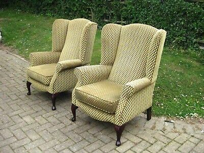 Pair of Good quality Gold Chenile Wingback armchairs exc cond