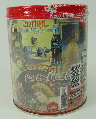 "VINTAGE Coca Cola Jigsaw Puzzle 700 Piece 6"" Round Tin SEALED"