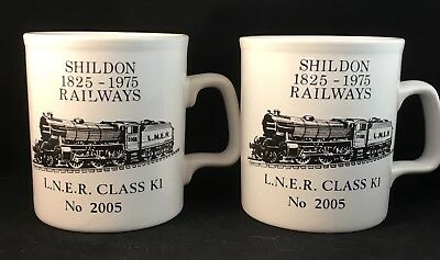 2 SHILDON 1825 - 1975 RAILWAYS LNER CLASS KI No 2005 ENGLISH COFFEE MUGS CUPS