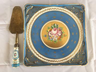 Antique French Sevres Paris Porcelain Hand Painted Tray & Cake Slice. C1860.