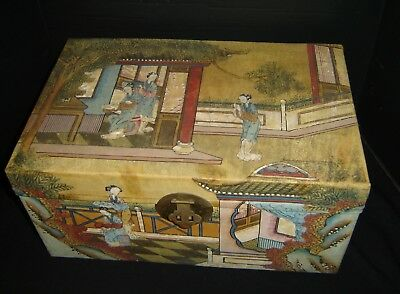 Antique Chinese Qing Dynasty Hand Painted Pigskin Wedding Trunk Chest Signed.