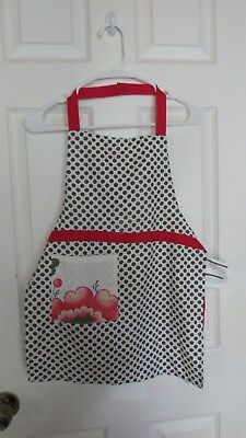 NWT Ikea Inbjudande Red/White Polka Dot Youth Play Kitchen Apron 22In Long