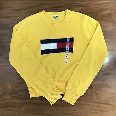 Tommy Hilfiger 90's Children's Sweater Vintage Big Flag Yellow Knit Crew Size L