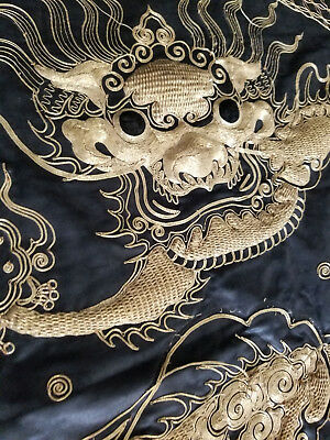 Antique Chinese Embroidered Gold THread Dragon Panel Qing Embroidery Silk