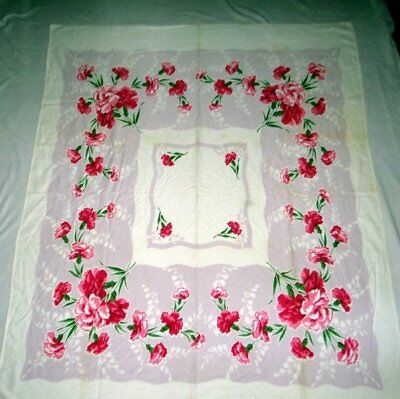 Vintage Linen Tablecloth Red Pink Carnations on Purple 54 x 56 Inches CUTTER