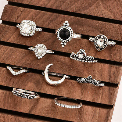 11PCS  Boho Vintage Women Knuckle Bohemian Rings Midi Joint Ring Set D