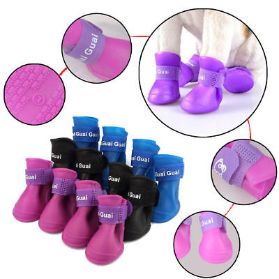 4Pcs Cute Soft Waterproof Boot Dog Boots Protective Rubber Pet Rain Shoes USA