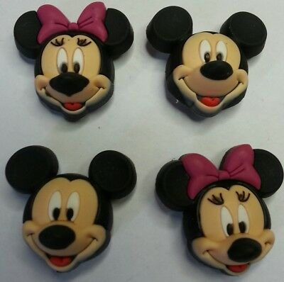 4pc Mickey Minnie SHOE CHARMS LOT FOR CROC SHOES JIBBITZ BRACELETS character Set