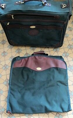 Orvis Battenkill Green Canvas Leather Medium Rolling Suitcase Small Garment Bag